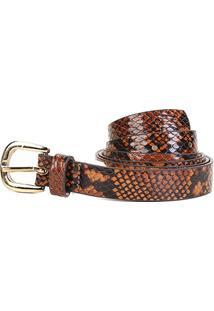 Cinto Couro Shoestock Snake Fivela Feminino - Feminino-Caramelo