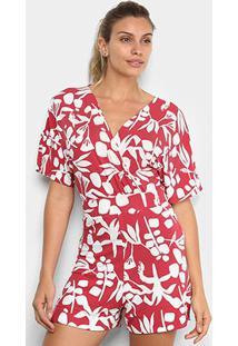 Macacão Maria Filó Curto Floral Feminino - Feminino-Vermelho+Branco