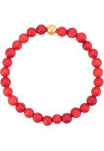 Nialaya Jewelry Pulseira Com Contas Facetadas - Vermelho