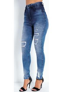 Calça Jeans Cigarrete Super Lipo Rasgada Sawary