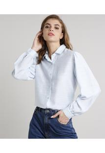 Camisa Feminina Mindset Ampla Manga Bufante Azul Claro