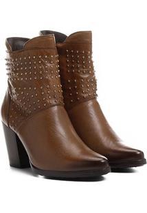 Bota Couro Cano Curto Shoestock Cravinhos - Feminino-Caramelo
