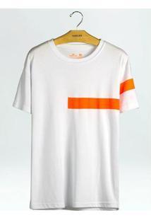 Camiseta Big Shirt Osklen Listramanga Masculina - Masculino-Branco