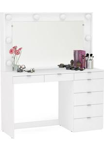 Penteadeira Com Espelho E 7 Gavetas, Branca, Silvana