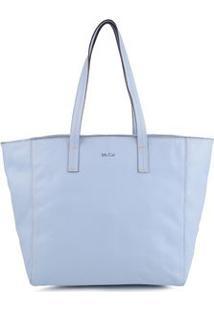 Bolsa Shopping Bag Couro Pesponto Azul Claro - Azul Claro/Un