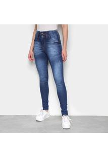Calça Jeans Skinny Biotipo Corpete Hotpant Feminina - Feminino-Azul