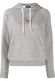Polo Ralph Lauren Moletom Com Logo E Capuz - Cinza