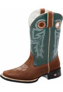 Bota Texana Country Em Couro Fenix Boots Marrom/Verde