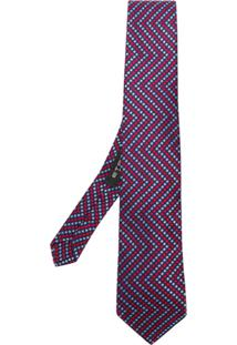 Etro Gravata Com Estampa Zig Zag - Azul