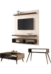 Painel Tv Life 1.3 Com Mesa De Centro Lucy E Aparador Quad Deck/Off Wh