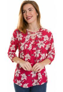 Camisa Olimpo Camisaria Crepe Estampado Floral Manga 3/4 Pink
