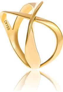 Anel De Ouro 18K Aros Cruzados Em X