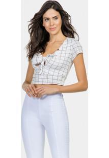 Blusa Cropped Amarração Malha Blanc - Lez A Lez