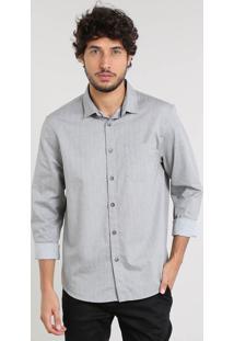 Camisa Masculina Relaxed Mini Print Com Bolso Manga Longa Cinza