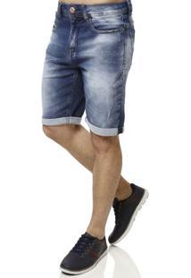 Bermuda Jeans Moletom Masculina Azul