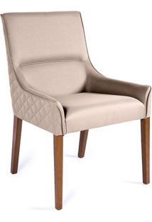 Cadeira De Jantar Lina Matelassê Bege E Imbuia