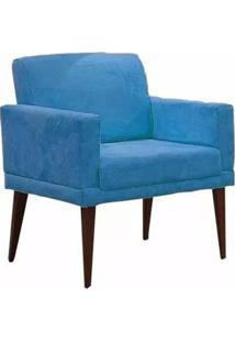 Poltrona Decorativa Emília Pés Palito Suede Azul - Ds Móveis - Kanui