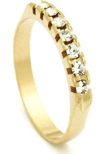 Meia Aliança Horus Import Banhada Ouro Amarelo Pedras Cristal