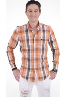 Camisa Xadrez Slim Social Masculina - Unissex-Laranja