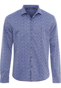 Camisa Masculina Denim Floral - Azul
