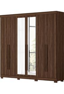 Guarda Roupa De Casal Belem 6 Portas C/ Espelhos Cedro Albatroz Marrom