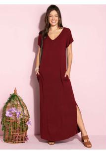 Vestido Longo Soltinho Com Fenda Vermelho