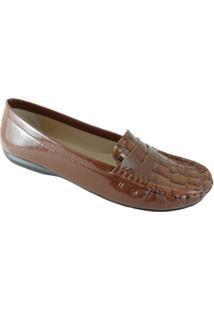 Mocassim Sapatoweb Couro Feminino - Feminino-Marrom