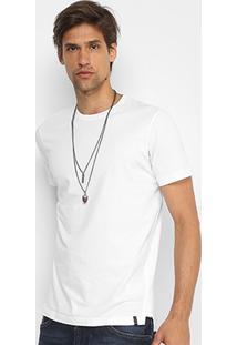 Camiseta Básica Diesel Com Fenda Masculina - Masculino-Branco