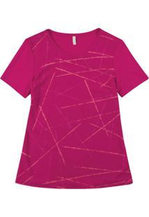 Blusa Manga Curta Com Estampa Geométrica Rosa
