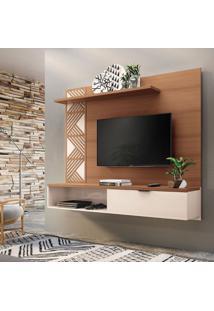 Painel Para Tv Até 50 Polegadas Grid Marrom Nature E Off White