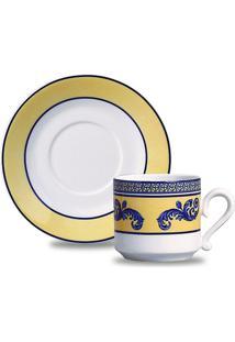 Xícaras De Chá Maria Sintra Porcelana 6 Peças Branco, Amarelo E Azul Verbano