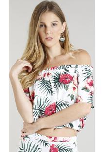 Blusa Ciganinha Feminina Cropped Estampada Floral Branca