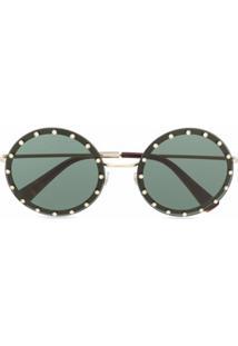 Valentino Eyewear Óculos De Sol Redondo - Preto