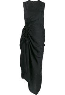 Mcq Alexander Mcqueen Ruched Bird Print Dress - Preto