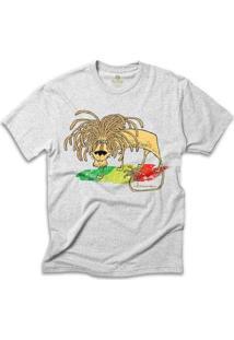 Camiseta Geek Cool Tees Comics Fernando Gonsales Leao Jamaica Bob Marley Masculina - Masculino-Mescla Claro