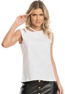 Blusa Com Abertura No Ombro Branco