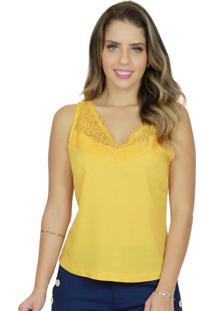 Blusa Mamorena Cavada Decote Com Renda Amarelo