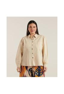 Camisa Com Mangas Bufantes Curve & Plus Size | Ashua Curve E Plus Size | Branco | Eg
