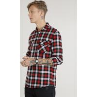 b54eb4663 Camisa Masculina Em Flanela Estampada Xadrez Com Bolsos Manga Longa Vermelha