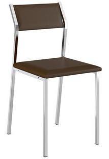 Cadeira Carraro 1709 Aço Cromada (2 Unidades) Cromada/Cacau