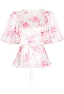 Les Reveries Blusa Floral De Seda - Branco