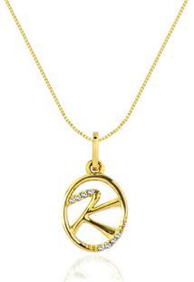 Pingente Letra K Ouro Amarelo E Diamantes