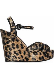 Dolce & Gabbana Sandália Com Estampa De Leopardo E Salto Anabela De 90Mm - Neutro
