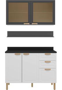 Cozinha Modulada 4 Peças Com Tampo E Nevada 5920Vdtp-Multimóveis - Branco Premium / Grafite Premium