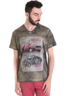 Camiseta Konciny Manga Curta Estonada 33007 Verde Musgo