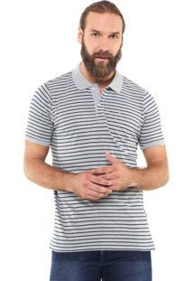 Camisa Polo Yachtsman Reta Listrada Cinza/Azul