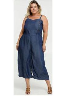 Macacão Feminino Jeans Pantacourt Plus Size