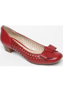 Sapato Tradicional Em Couro Com Microfuros- Vermelhojorge Bischoff