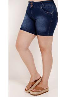 Short Jeans Elástico Plus Size Feminino Azul