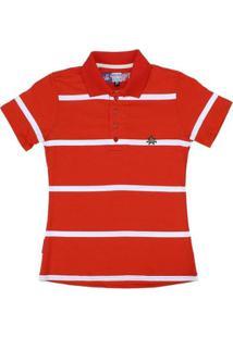 Camisa Polo Listrada Rodeo Western Feminina - Feminino-Vermelho